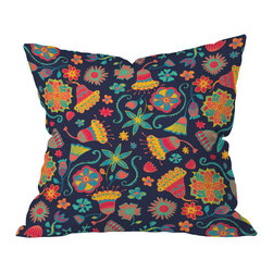 DENY Designs - Arcturus Bloom 1 Throw Pillow, 20x20x6 - Don't toss this one, folks. The bright, artsy flowers and dark blue background will make you want to hold this pillow tight. It's printed front and back on woven polyester, and will add cheerful softness to any sofa, bed or bench.