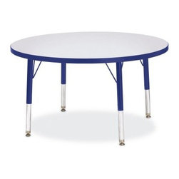 Jonti-Craft Rainbow Accents KYDZ Round Activity Table - The Jonti-Craft Rainbow AccentsRound Activity Table is the perfect place for painting, coloring, or art projects at pre-schools and daycares. Laminate table top available in your choice of attractive colors. Includes extra-safe dual-screw leg adjustability system and nylon-based swivel glides. Legs can adjust in height from 15- to 31-inches. Legs mount quickly for minimal assembly. Available in 36-, 42-, or 48-inch diameters. The 36-inch diameter table can accommodate 4 chairs (not included). Adjust the table height to the 15- to 24-inch range to accommodate chairs with seat heights of 8- to 14-inches. This height is perfect for children ages 2 until 1st grade. Adjust the table height to 24- to 31-inches to accommodate chairs with seat heights of 14- to 18-inches - perfect for kids over 1st grade and adults. The 48-inch diameter table can accommodate 7 chairs (not included). Adjust the table height to the 15- to 24-inch range to accommodate chairs with seat heights of 8- to 14-inches. This height is perfect for children ages 2 until 1st grade. Adjust the table height to 24- to 31-inches to accommodate chairs with seat heights of 14- to 18-inches - perfect for kids over 1st grade and adults. Additional features Extra-safe dual-screw leg adjustability system Nylon-based swivel glides Legs mount quickly for minimal assembly About Jonti-CraftFamily-owned and -operated out of Wabasso, Minn., Jonti-Craft is a leading provider of quality furniture for the early learning market. It offers a wide selection of creatively designed products in both wood and laminate materials. Its products are packed with features that make them safe, functional, and affordable. Jonti-Craft products are built using the strongest construction techniques available to ensure that your furniture purchase will last a lifetime.