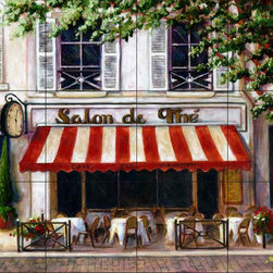The Tile Mural Store (USA) - Tile Mural - Cafe 2 - Kitchen Backsplash Ideas - This beautiful artwork by Malenda Trick has been digitally reproduced for tiles and depicts a street scene with a cafe.  This street scene tile mural would be perfect as part of your kitchen backsplash tile project or your tub and shower surround bathroom tile project. Street scenes images on tiles add a unique element to your tiling project and are a great kitchen backsplash idea. Use a street scene tile mural, perhaps a Tuscan theme tile mural, for a wall tile project in any room in your home where you want to add interesting wall tile.
