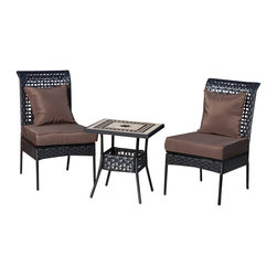 "Fire Sense - Fire Sense 61545 Sonoran All Weather Wicker 3pc. Bistro Set - Our new Sonoran Bistro Set includes two all weather wicker chairs and a 20""x20"" table with mosaic tile top. This lightweight yet durable bistro set is perfect for breakfasts in the morning or an afternoon tea for two. The attractive mocha finish is the perfect accent for any patio. Our bistro set can be used all year round and provides a maintenance free outdoor seating experience."