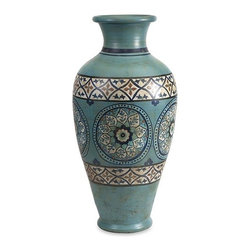 iMax - Kibar Hand Painted Oversized Vase - This Moroccan inspired oversized Kibar vase features a terracotta bodice and hand painted medallions in shades of blue.