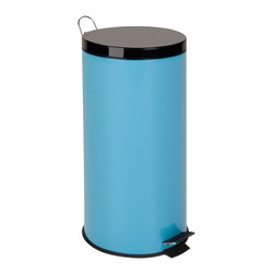 Honey Can DO - Step Trash Can - Blue, 30 Liter - Our Steel Step Trash Can, Robin's Egg Blue. A contemporary and colorful addition to any home or office, this 30Liters trash can boasts sturdy construction for daily use. Perfect for brightening up the kitchen, laundry room, or office. The steel foot pedal provides hands-free operation to keep germs at bay. A removable inner bucket keeps bags from snagging and is easily cleanable. The bright blue, hand print resistant exterior is easy to clean and features a plastic fold down carrying handle.
