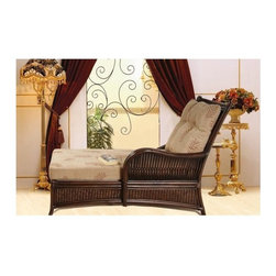 Boca Rattan - Bali Rattan Chaise Lounge in Coffee Bean (641 - Fabric: 641Cushions included. Indoor use only. Leather binding. Constructed from strong and durable rattan. 55 in. L x 30 in. W x 36 in. H (75 lbs.)
