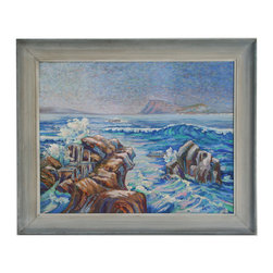 "Seascape by Loretta Sullivan - Consigned Vintage Artwork - Large scale vintage seascape with interesting style and thick texture. Signed ""Loretta Sullivan"" lower right. Displayed in a gray wood frame."