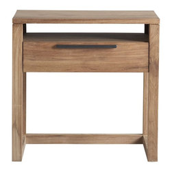 Linea Nightstand - The sleek hardware against the grains and knots of the wood is very industrial chic.