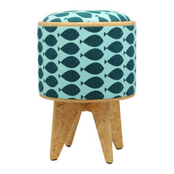Patron Design - Fish Turquoise Stool Ottoman - One look and you'll be hooked on this funky, ecofriendly piece. It's a footstool, a storage box, a table and a seat all in one, and it's covered in a fresh teal and white fish fabric. Snag this one now. You definitely won't want to throw it back.