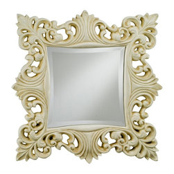 Afina Corporation - Timeless Traditions Ornate Square Mirror - 23W x 23H in. - TT-135-GD - Shop for Mirrors from Hayneedle.com! Provide light and beauty to your decor style with the elegant design of the Timeless Traditions Ornate Square Mirror. With a detailed frame of embellished leaf patterns in a classic style this square mirror is ideal for just about any wall. It features a beveled edge contoured frame and is available in your choice of antique gold antique white or antique silver finishes that complement a variety of settings. Make any wall in your home worth a second look by adding this beautiful mirror to your living space.About AfinaAfina Corporation is a manufacturer and importer of fine bath cabinetry lighting fixtures and decorative wall mirrors. Afina products are available in an extensive palette of colors and decorative styles to reflect the trends of a new millennium. Based in Paterson N.J. Afina is committed to providing fine products that will be an integral part of your unique bath environment.