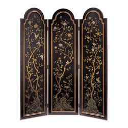 "Inviting Home - Arched Top Folding Screen - 3-panel hand-painted wood decorative screen overall - 72""W x 84""H each panel - 24""W This sophisticated three-panel folding screen is made from wood and features an arched top and elegant raised arched paneling. Beautiful design with peony flowers lively birds and playful butterflies is hand-painted on an antiqued crackled black background by artists. Each panel of the folding screen has a unique composition painted inside the raised wood trim. Beautiful composition of flowers plants and birds are one of the primary matter encountered most frequently on a folding screens. The representation of plants and flowers on this folding screen is predominant. This decorative folding screen doesn't have a center scene but each of the four panels presents a distinct design. Wood trim is finished in antiqued gold and elegantly framing each hand painted scene. The back of the room divider has an antiqued crackled black finish and feature painted peony flowers with precise details. Pictures on a folding screen often have a symbolic meaning. In China its meaning is determined by combination of flowers plants other objects. In general the science with predominant floral elements and spring birds reflect a future of plentiful progeny prosperity and long life."