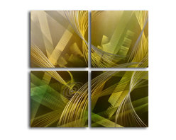 """""""Modern tropicals"""" 4 Piece Contemporary Handmade Metal Wall Art Set - Size: Size: 32"""" x 32"""" (16"""" x 16"""" x 4pc) Materials: Aluminum, Paints, Wood Made of high quality aluminum over a 0.5-inch thick wood frame covered with velvet on the back 100% Handmade wall decor Hand sanded design that creates unique holographic effect  Clear coated gloss finish Ready to hang out of the box Hand crafted by a single talented artist Due to the handcrafted nature, each piece may have subtle differences"""