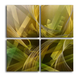 """Modern tropicals"" 4 Piece Contemporary Handmade Metal Wall Art Set - Size: Size: 32"" x 32"" (16"" x 16"" x 4pc) Materials: Aluminum, Paints, Wood Made of high quality aluminum over a 0.5-inch thick wood frame covered with velvet on the back 100% Handmade wall decor Hand sanded design that creates unique holographic effect  Clear coated gloss finish Ready to hang out of the box Hand crafted by a single talented artist Due to the handcrafted nature, each piece may have subtle differences"