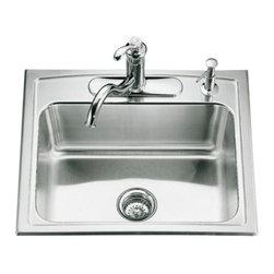 KOHLER - KOHLER K-3348-4-NA Toccata Single-Basin Self-Rimming Kitchen Sink - KOHLER K-3348-4-NA Toccata Single-Basin Self-Rimming Kitchen Sink with Four-Hole Faucet Punching
