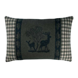 Happy Blanket - Boiled Wool Toile Pillow 2DEER, Grey - Wool is a natural temperature regulator, naturally hypoallergenic, naturally breathable and even improves sleep quality.