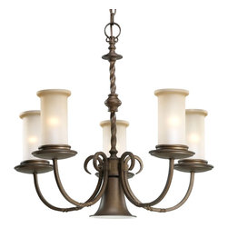 Thomasville Lighting - Thomasville Lighting Santiago Traditional 5-Light Chandelier X-201-7854P - Five-light chandelier with down light with spiraled detailing, center columns reveal scrolled arms enhanced by subtle twists and highlighted by pillars of jasmine mist glass.