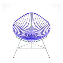 Acapulco Chair, Chrome Frame With Purple Weave