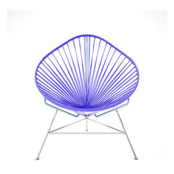 Acapulco Chair, Chrome Frame With Purple Weave - A tripod metal base cradles this classic woven vinyl chair design. The modern look is ideal for outdoor use as it's weatherproof and easy to clean, but it's just as stylish inside your home. Pick from a rainbow of colors to add the perfect pop of color or stick with classic black.