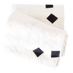 """Linen Throw """"Square Drops White"""" - Super soft white linen throw with black squares. Perfect for a tablecloth, couch throw, beach blanket, wrap dress and anything else you can think of. Individually block printed by hand with non-toxic acrylic ink. Each blanket is pre-washed and ready to be loved."""