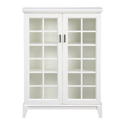 Paterson White 2-Door Cabinet | Crate&Barrel - This sweet cabinet has cottage style and contemporary lines. Keep your books, magazines and favorite items dust-free behind glass, or use it as a media cabinet.