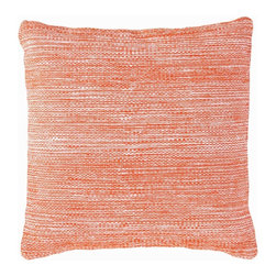 """Mingled Tangerine Indoor/Outdoor Pillow - 22"""" x 22"""" - Contrasting a hot and happy orange with a subtle blended weave, the Fresh American Mingled Tangerine Indoor/Outdoor Pillow brings a well-loved fruit tone to your look with a design durable enough for outdoor seating but attractive enough to serve as the centerpiece for a guest bed.  Embrace color with the depth and intensity of this large throw pillow's heathered hue."""