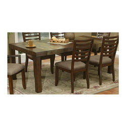 Alpine Furniture - Sedona Extension Dining Table - Chairs not included. Natural slate tiles. Removable leaf. Six months warranty. Made from rubber wood solids and mindy veneer. Medium brown color. Made in Vietnam. Minimum: 62 in. L x 42 in. W x 30 in. H. Maximum: 82 in. L x 42 in. W x 30 in. H