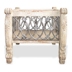 Wrought Iron Accent Table, Weathered Grey, Cream, and Gold Leaf - Wrought Iron Accent Table, Weathered Grey, Cream, and Gold Leaf