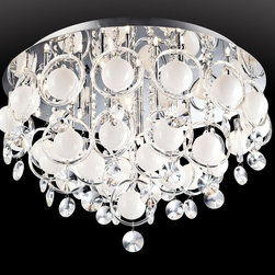 Lite Source - Lite Source EL-50078 Bubbles Crystal Flush Mount Ceiling Light - Graceful flowing lines, chrome metal framescoupled with clear crystal ring and whitefrosted bubble style ornamentation finishedoff with small individual cut crystal droplets.