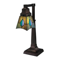 Meyda Tiffany - Meyda Tiffany Lamps Desk Lamp in Mahogany Bronze - Shown in picture: Mackintosh Leaf Desk Lamp; The Mackintosh Leaf Stained Glass One Light Desk Lamp Has A Tiffany Style Shade In A Striking Leaf Design Of Heather - Purple - Highland Teal And Peacock Feather Green Glass. The Desk Lamp Was Inspired By A Famous Design From Scottish Nouveau Artist Charles Rennie Mackintosh. It Features A Mahogany Bronze Finish.