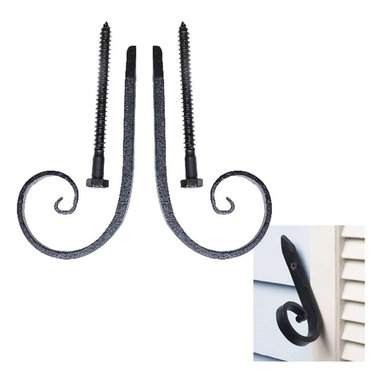 Renovators Supply - Shutter Dogs Wrought Iron Shutter Dog Pr Spear Wood/Masonry Mnt - Shutter Dog Pair. These Spear shutter dogs combine distinctive style, function & the remarkable durability of handcrafted wrought iron. Our Exclusive RSF finish make our shutter dogs rustproof & weatherproof while keeping a luxurious matte finish for years to come. Reclaim those shutters with hassle-free installation & heavy-duty lag bolts 4 1/4 in. long for wood or masonry installation. Whether you are replacing old shutter dogs or looking for that Old World Charm these dogs are built to last. Sold as a Left & Right pair.