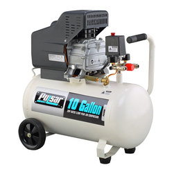 Pulsar - Pulsar Products 10-gallon Air Compressor - Matching a 10-gallon electro-statically painted all-steel, oil-lubricated tank with a powerful 3.5 HP motor, the PCE6100 creates 115 PSI of powerful pressure. This Pulsar air compressor comes with a mobility kit.