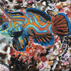 Mandarin Fish (Original) by Kathleen Benton - Mandarin Fish is from my Camouflage Fish Series.  As an artist. one of my interests is the consideration of figure-ground relationships. This is particularly a concern when using plants and animals as subject matter.  Inhabitants of the natural work must live and adapt within their surroundings.  This figure-ground relationship is vital, so to speak.  With this in mind, I began the series Camouflage Fish.   Camouflage is a way of fitting into the environment, for protection or stealth.  The colors or patterns of the animal that create camouflage are also the features of the subject's habitat, creating a figure-ground relationship of significance and visual confusion at the same time.