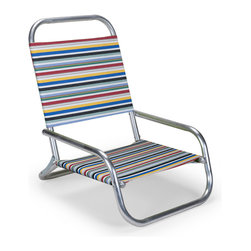 Telescope Casual - Telescope Casual Beach Sun and Sand Chair - The Beach Chair collection is simple in design yet it is durable and very comfortable. The fabric is weather resistant and securely attached using a loop-style seat and back. It is so easy to fold up carry and set up at a camp site or the beach.Since 1903 Telescope Casual has been a family owned and operated business now in its fifth generation. Initially producing its namesake telescoping cots the company grew and moved to its current production facility in Upstate NY.  With classical traditional and modern designs Telescope Casual has a design for any patio whether commercial or personal. From their signature directors chairs to their modern MGP collections Telescope Casual sets a high bar for style and durability.  Consistently fast production times with the assurance of the quality continue to justify the well earned reputation of Telescope Casual patio furniture.   Features include Frame assembled using zinc-plated rivets and screws Telescope's original mini-sun chaise exclusive support braces provide unparalleled strength and rigidity All arms are select kiln dried solid hardwoods Fabric is weather resistant and securely attached using zinc plated nails Easy snap on and tighten screw adjustment for canopy Very durable and light weight aluminum material Minimal maintenance required Suitable to be used anywhere outside Available in various powdered coated finishes Offered in wide selection of sling options Arm handles are offered for comfort and style Foldable for convenience of storage Commercial Grade.