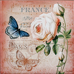 "Tile Art Gallery - Springtime In France II - Ceramic Accent Tile - This is a beautiful sublimation printed ceramic tile entitled ""Springtime In France II"" by artist Conrad Knutsen. It features a gorgeous Parisian butterfly and rose combination."