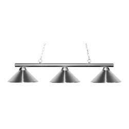 Z-Lite - Sharp Shooter 3 Light Chandelier with Metal Chrome Metal Shade - The simple styling of this three light fixture creates a classic statement. Finished in chrome, this three light fixture uses chrome shades to compliment its classic look, and 36 of chain per side is included to ensure the perfect hanging height.