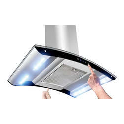 """AKDY - AKDY AK-Z10B6 Euro Stainless Steel Island Mount Range Hood, 36"""" - This 36-inch ventilation hood has a powerful 3-speed motor that can be converted to a recirculating vent system. This allows you to install your ventilation systems in kitchens without directly venting to the outside. The sleek design includes double-sided electronic touch controls with an attractive display that makes it easy to use. 870 CFM threshold allows installation over most 36"""" or 30"""" cook tops. 3-Speed Electronic Touch Control provides intuitive operation selections. The built in Energy Saving System ensures energy efficient ventilation by automatically shutting off the vent when it is not in use. Four 8-Watt LED light bars provide energy efficient operation with brighter natural light that increases visibility over the cooking surface. The dishwasher safe grease filter helps prevent damage to the ceilings and counter tops. The design increases filtration by lengthening the path of vented air to help capture more steam grease and odors as they are drawn through the vent. Additional purchase of carbon/charcoal filter is needed for recirculation mode. Recirculation kit is optional."""