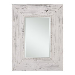 "Cooper Classics - Wilkes Distressed White Rectangular Mirror - Distressed White Finish; Beveled Mirror, Frame Dimensions: 27.5""W X 35.5""H, Mirror Dimensions: 13.5""W X 22""H, Finish: Distressed White, Material: Wood, Beveled: Yes , Shape: Rectangular, Weight: 22 lbs, Included: Brackets, Ready to Hang Vertically or Horizontally"