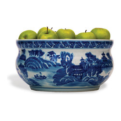 Port 68 - Summer Palace Basin - Featuring a rural Asian landscape in shades of deep blue, this hand-painted porcelain basin makes the perfect centerpiece for a table or kitchen island countertop. The basin's detailed design and pop of color make it striking enough to stand alone, while its width makes it ideal for holding an abundance of fresh fruits or vegetables.