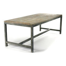 Kathy Kuo Home - Abner Industrial Modern Rustic Bleached Oak Gray Dining Table - Its well-used appearance might lead one to assume it a work table at first glance, but the Abner Dining Table—weathered look and all—is meant for the modern dining room.  Supported by a speckled gray, powder-coated steel frame, the solid, reclaimed oak tabletop is finished with a bleached lime wash and features the splits and cracks characteristic of a truly handmade, reclaimed wood piece.  A great addition to the rustic interior or industrial loft, it comfortably seats up to eight.