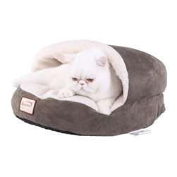 Armarkat Cat Bed - Laurel Green & Ivory - The Armarkat Cat Bed - Laurel Green & Ivory has a handsome design and Sherpa-style feel that your cat is sure to love. The bed is made of faux suede in stylish laurel green. It's lined with thick polyester for maximum comfort. It has a small roof and generous bed so kitty can survey his territory in the style and comfort he deserves. The waterproof, skid-free base keeps it in place. It's machine-washable for convenience. About ArmarkatArmarkat was established in 1994 and is the leading brand of Aeromark Pet Product Company. They are dedicated to producing the finest quality cat trees and pet beds using large-scale production practices. They were awarded the TUV Environmental Quality Control test certified and are known in the industry for quality and style.Armarkat products are designed by professional pet product designers. They know pet and pet owners' preferences and use materials that are safe for pets and the environment. Armarkat products are hand-crafted and undergo strict quality control standards to ensure a solid design and durability.