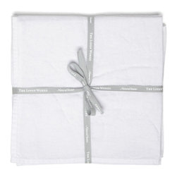 The Linen Works - Classic White Simple Hem Linen Napkins ( Set of 4/8 ), Set of 4 - Perfectly simple.  A set of four pure linen napkins in Classic White.  Pre-washed for softness. Matching table cloth available in Classic White or try the beautiful combination of Classic White napkins with the Toulon Dove Grey tablecloth.