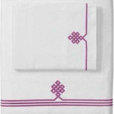 Serena & Lily - Berry Gobi Embroidered Pillowcases - Our not-so-basic white sheets make a great foundation for layering color and pattern throughout the room--think of them as classics with a twist. Thanks to 300-thread-count pure-cotton sateen, they're also wonderfully comfortable.  An ancient Buddhist motif, representing the endless knot of wisdom, is embroidered in Berry on the flat sheet and cases.