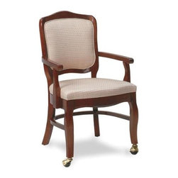 Fairfield Chair Company - Occasional Tight Back Arm Chair (Fabric: Line - Fabric: Fabric: LinenTransform your dining room into a classic, timeless space with this upholstered arm chair, featuring traditional design elements for enduring beauty and style. The chair has an upholstered seat and back and is available in your choice of finishes and fabric options so you can easily design a chair to suit your existing decor. Tight seat. Standard HR-40 cushion with 2.8 density firm foam. Standard arm chair with casters at front legs only. Fabric Warranty: One year. Made from beachwood and fabric. Seat Height: 20 in.. Arm Height: 26 in.. Seat Depth: 21 in.. Inside Width: 21 in.. Overall: 27.5 in. W x 24 in. D x 37.5 in. HSooner or later our existing home furnishings lack luster and style and we yearn for updated styles, softer and more colorful fabrics. The upholstered chair collection by Fairfield allows more flexibility in these decorating choices to meet your individual needs. Whether it is refurnishing an existing den or updating a home office, browse through our wide variety of chairs and you'll soon notice that we have a style to suit all your needs.