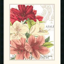 Amanti Art - Azalee Jardin II Framed Print by Wild Apple Portfolio - These retro Hibiscus blooms from Wild Apple Portfolio will give any wall a perpetual air of Springtime.