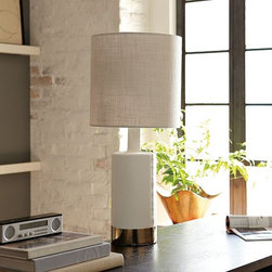 Cada Table Lamp - This lamp has all of the right elements from the linen shade to the glam silver rim.