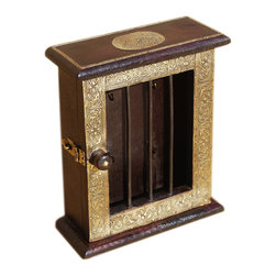 Sierra Living Concepts - Wood & Brass Handmade 4 Peg Wall Hanging Decor Key Holder Box - Some items are so precious they need their own special display.
