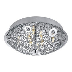 Eglo - Eglo 90521A 8 Light Semi-Flush Ceiling Fixture Cromer Collection Ballas - Eglo 90521A Cromer 8 Light Semi-Flush Ceiling FixtureBring an elegant, modern look to any room with this beautiful semi-flush ceiling fixture from the Cromer Collection features Bowl Shaped Chrome Metal accented by Chrome hardware to make for a stylish fixture that will accent any room. Electronic Ballast Included.Eglo 90521A Features: