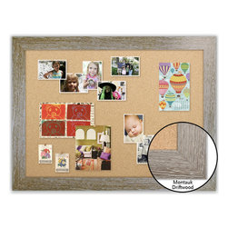 "Corkboard - 44"" x 32"" Framed Cork Board, Montauk Driftwood - Dimensions include frame."