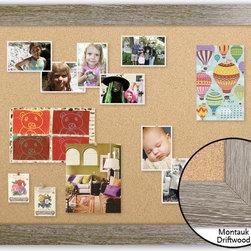 "Corkboard - 44"" x 32"" Framed Cork Board, Montauk Driftwood - Dimensions include frame."
