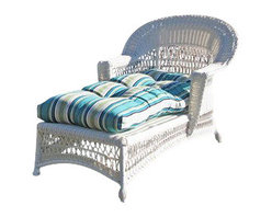 """Wicker Paradise - Cape Cod Wicker Chaise White - Our Cape Cod outdoor chaise is a white resin wicker on an aluminum frame. The seat is fully woven, so you may lounge outdoors and take in the sun and fresh air. The chaise is a traditional and warm design for your porch, deck, backyard, and other outdoor area. The cushion is not included but available for purchase separately. The dimensions are 30"""" Wide, 62"""" Long, 35"""" High."""