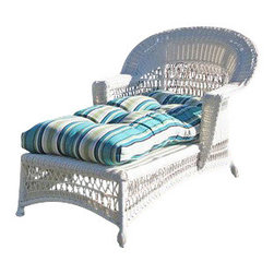 "Wicker Paradise - Cape Cod Wicker Chaise White - Our Cape Cod outdoor chaise is a white resin wicker on an aluminum frame. The seat is fully woven, so you may lounge outdoors and take in the sun and fresh air. The chaise is a traditional and warm design for your porch, deck, backyard, and other outdoor area. The cushion is not included but available for purchase separately. The dimensions are 30"" Wide, 62"" Long, 35"" High."