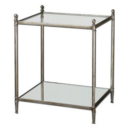 Uttermost - Uttermost Gannon Glass Top End Table w/ Iron Frame & Mirrored Shelf - Glass Top End Table w/ Iron Frame & Mirrored Shelf belongs to Gannon Collection by Uttermost Forged iron frame in antiqued silver leaf with clear, tempered glass top and mirrored gallery shelf. End Table (1)
