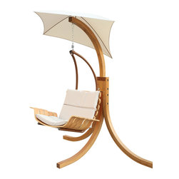 None - Umbrella Swing Outdoor Chair - Use this chair to wake up a sleeping garden or to invite tranquility to a busy day. Whether the look of your home is natural,classic or transitional,this swing chair with umbrella will make any necessary adjustment all by itself.